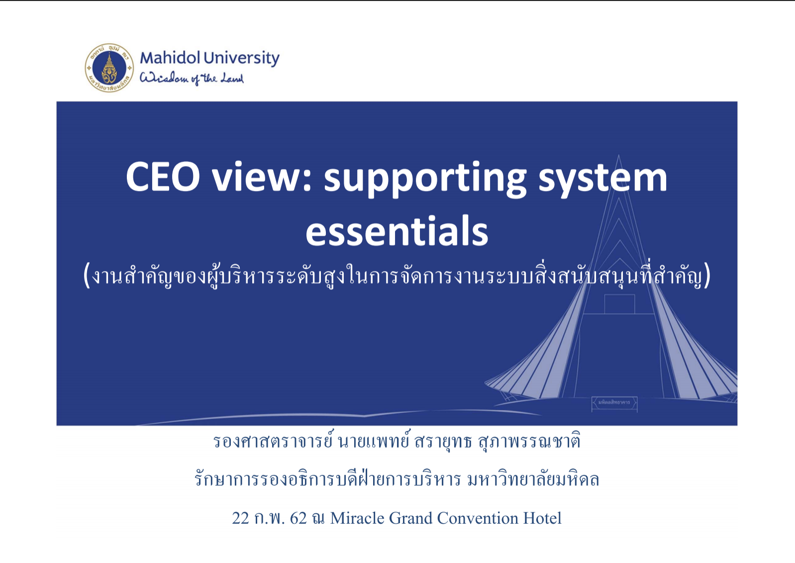 CEO View : Supporting System Essential